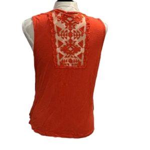 Maurices orange sleeveless top sheer back detail